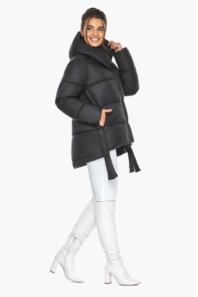"""Черная короткая куртка женская зимняя модель 43070 Braggart """"Angel's Fluff"""" фото 2"""