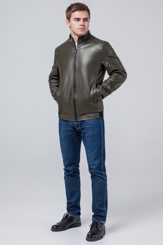 """Короткая подростковая куртка из полиуретановой кожи цвет хаки модель 1588 Braggart """"Youth"""" фото 4"""