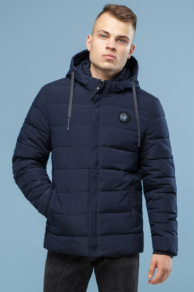 Практичная курточка зимняя мужская тёмно-синяя модель 6015 Kiro Tokao – Ajento фото 4