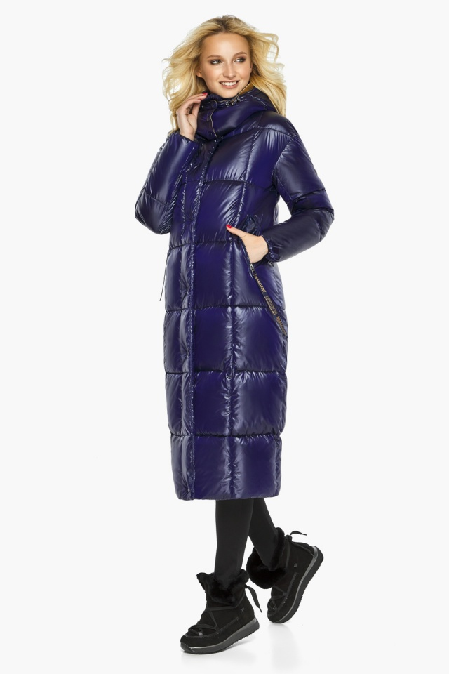 "Зимняя куртка женская с карманами цвет синий бархат модель 42830 Braggart ""Angel's Fluff"" фото 2"