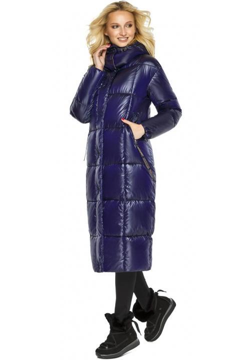 """Зимова куртка жіноча з кишенями колір синій оксамит модель 42830 Braggart """"Angel's Fluff"""" фото 1"""