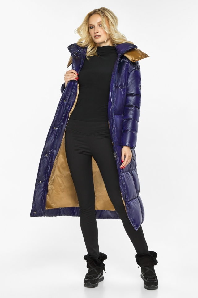 "Зимняя куртка женская с карманами цвет синий бархат модель 42830 Braggart ""Angel's Fluff"" фото 3"