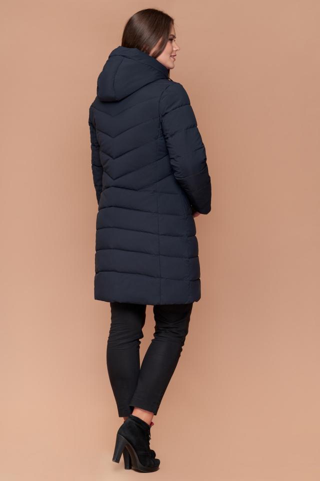 Зимняя куртка женская темно-синяя большого размера модель 25275
