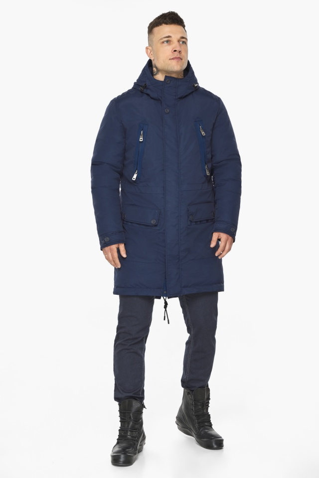 "Куртка – воздуховик тёмно-синий фирменный мужской зимний модель 30444 Braggart ""Angel's Fluff Man"" фото 7"