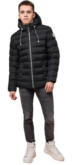 """Підліткова зимова чорна куртка на прогумованій блискавці модель 76025 Braggart """"Teenager"""" фото 1"""