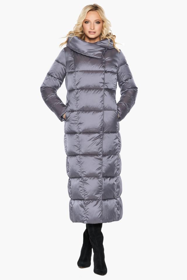 Стильная жемчужно-серая куртка зимняя женская модель 31056