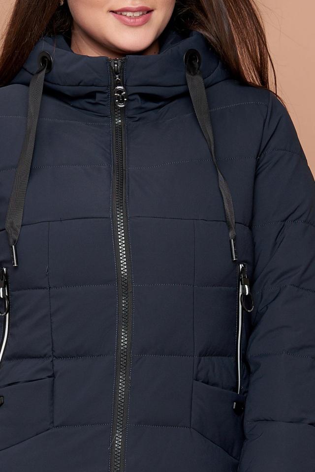 Зимний пуховик женский темно-синий большого размера модель 25275