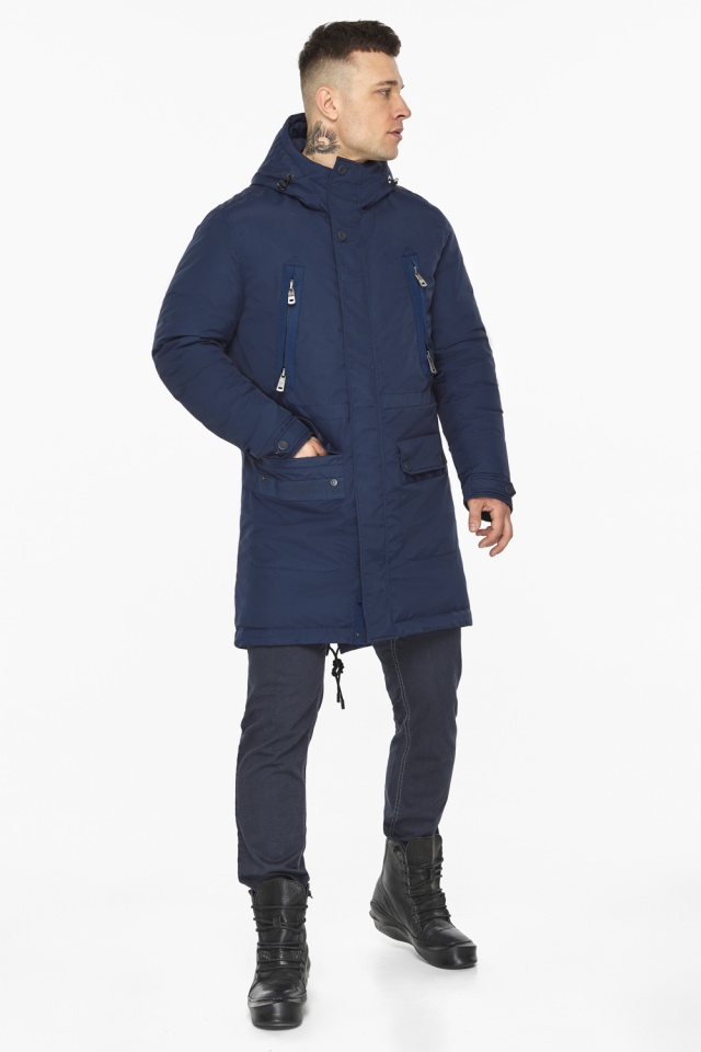 "Куртка – воздуховик тёмно-синий фирменный мужской зимний модель 30444 Braggart ""Angel's Fluff Man"" фото 5"