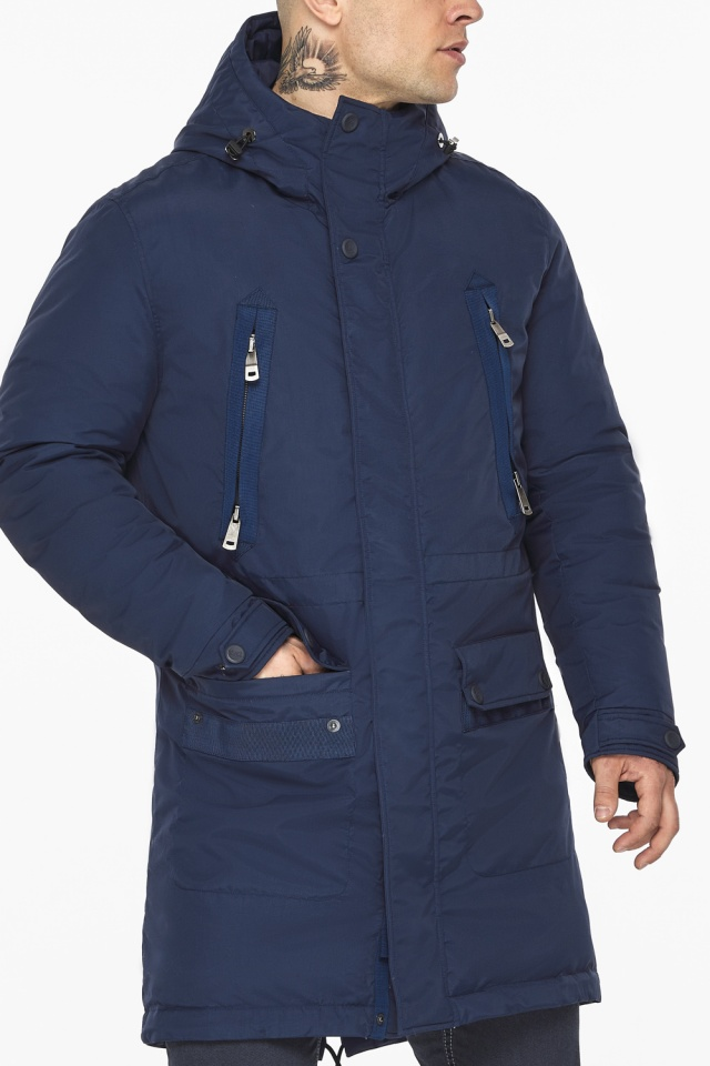"Куртка – воздуховик тёмно-синий фирменный мужской зимний модель 30444 Braggart ""Angel's Fluff Man"" фото 10"