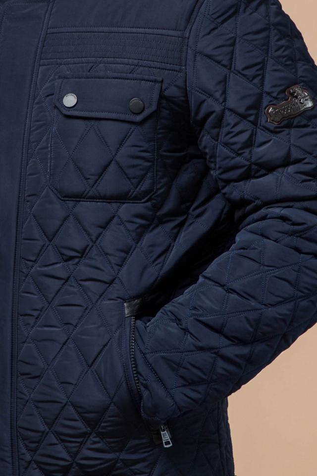 Мужская зимняя куртка с капюшоном цвет синий модель 1698