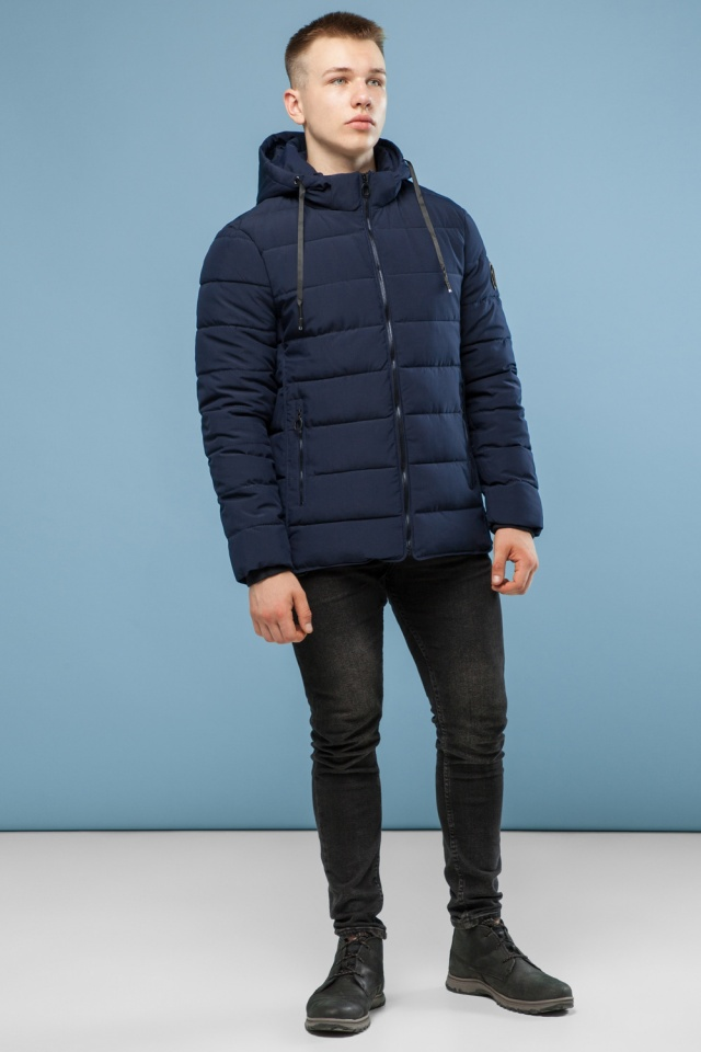 Темно-синяя качественная куртка зимняя для мужчин модель 6016 Kiro Tokao – Ajento фото 2