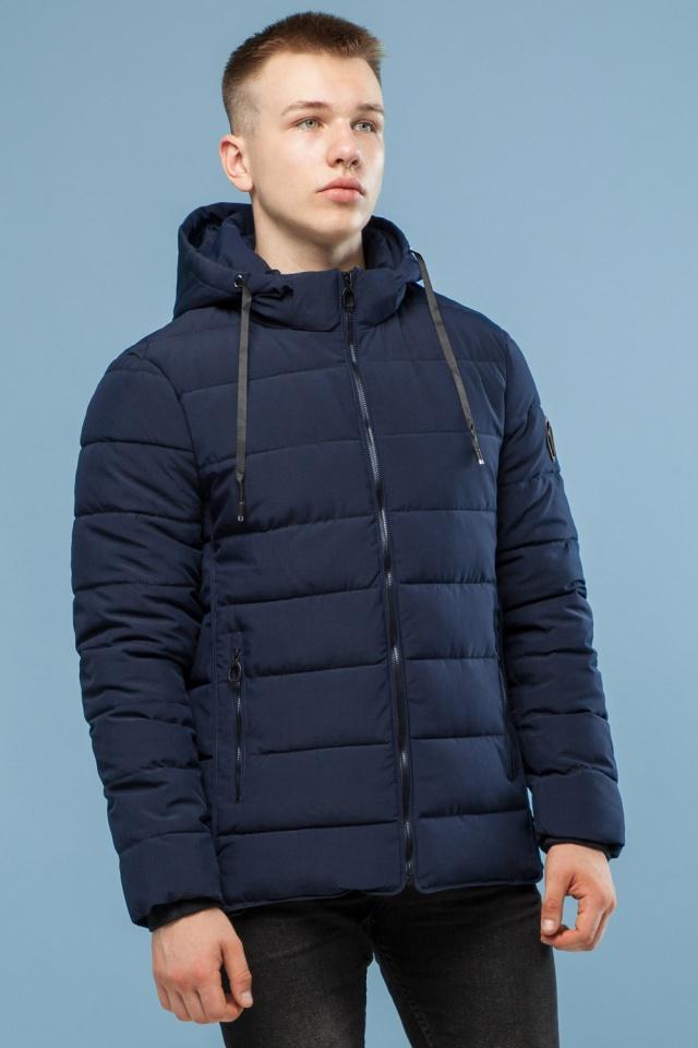 Темно-синяя качественная куртка зимняя для мужчин модель 6016