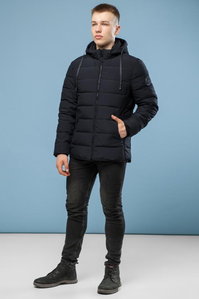 Комфортная куртка мужская черная зимняя модель 6016 Kiro Tokao фото 2