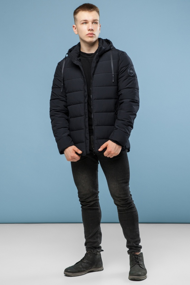 Комфортная куртка мужская черная зимняя модель 6016 Kiro Tokao фото 3