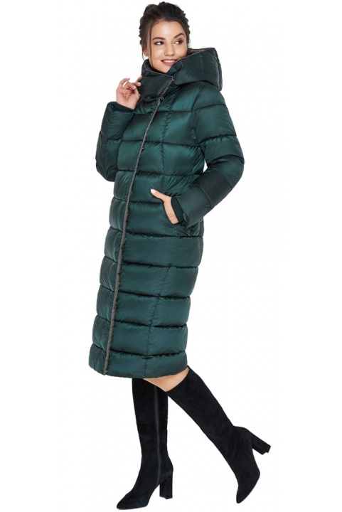 """Подовжена жіноча смарагдова куртка зимова модель 31028 Braggart """"Angel's Fluff"""" фото 1"""