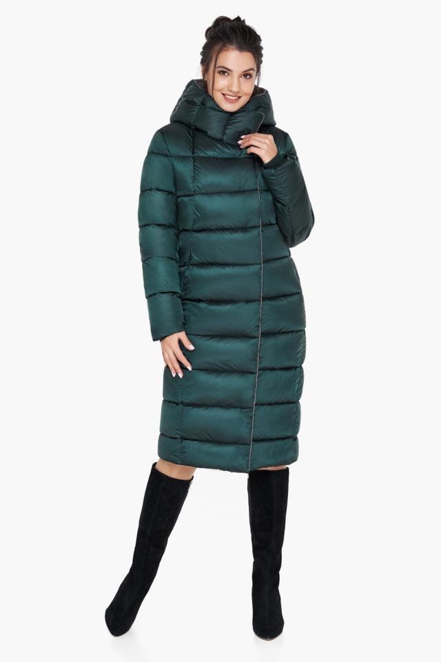 """Удлинённая женская изумрудная куртка зимняя модель 31028 Braggart """"Angel's Fluff"""" фото 5"""