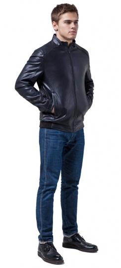 """Качественная куртка из экокожи тёмно-синяя модель 1588 Braggart """"Youth"""" фото 1"""