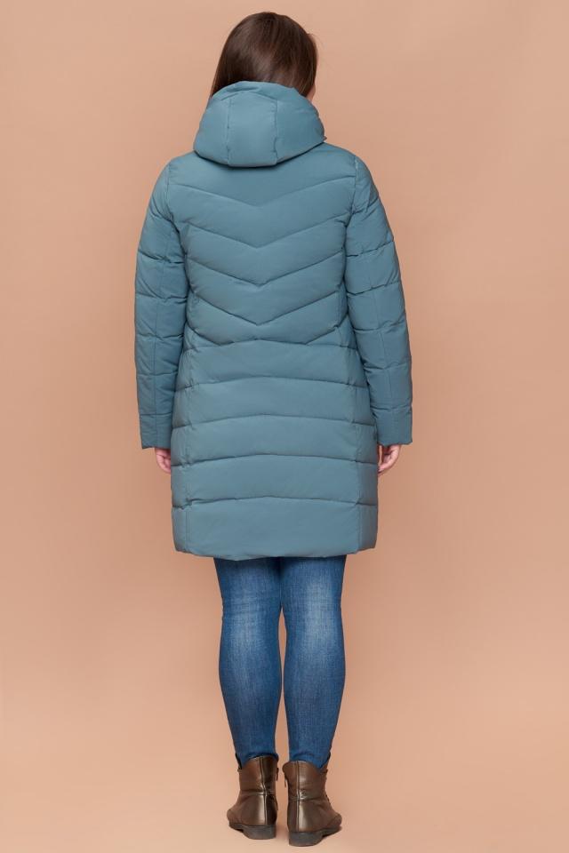 Женский зимний пуховик большого размера цвет светлая бирюза модель 25275