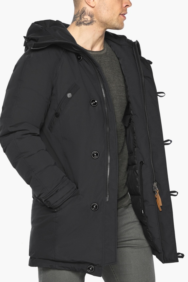 """Куртка – воздуховик для мужчин зимний практичный чёрный модель 30707 Braggart """"Angel's Fluff Man"""" фото 10"""