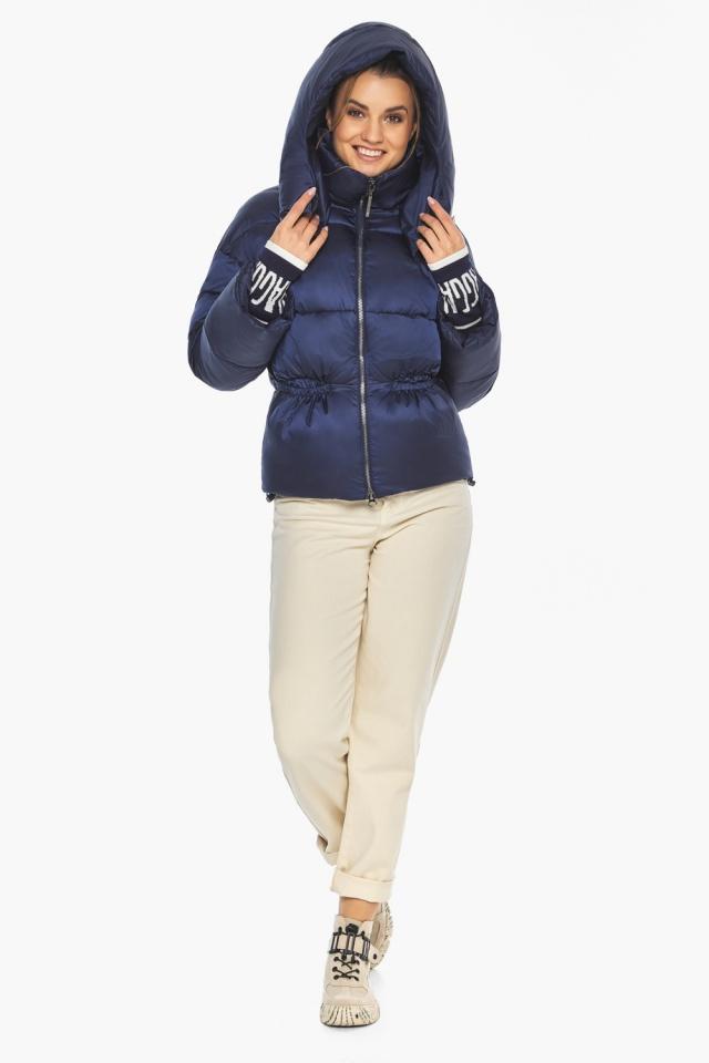 """Зимняя куртка с капюшоном женская синий бархат модель 41975 Braggart """"Angel's Fluff"""" фото 2"""