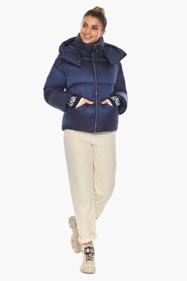 """Зимняя куртка с капюшоном женская синий бархат модель 41975 Braggart """"Angel's Fluff"""" фото 3"""