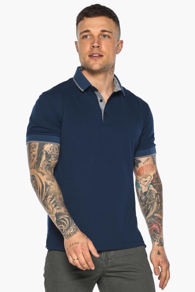 Синяя футболка поло мужская стильная модель 5104 Braggart фото 3