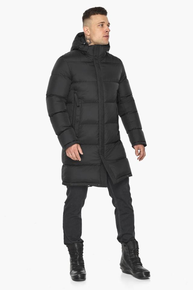 """Зимняя мужская куртка со съёмным капюшоном чёрная модель 49773 Braggart """"Dress Code"""" фото 4"""