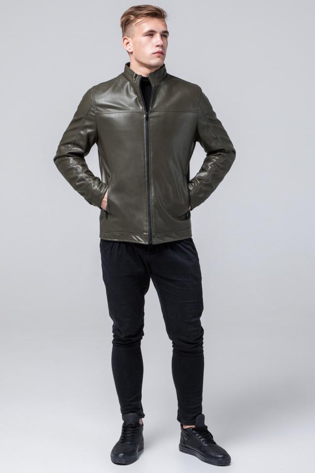 """Стильная кожаная курточка осенняя на мальчика цвет хаки модель 2825 Braggart """"Youth"""" фото 2"""