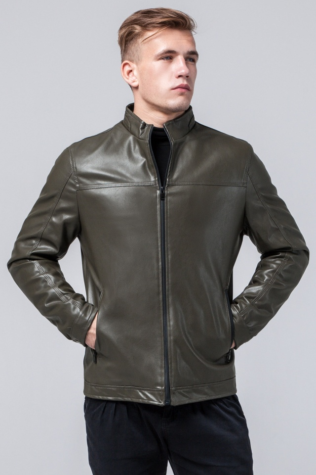 """Стильная кожаная курточка осенняя на мальчика цвет хаки модель 2825 Braggart """"Youth"""" фото 4"""
