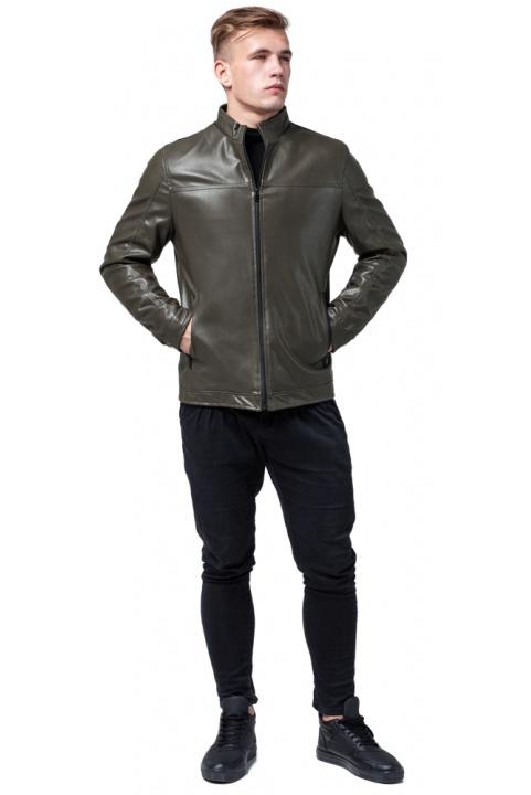 """Стильная кожаная курточка осенняя на мальчика цвет хаки модель 2825 Braggart """"Youth"""" фото 1"""