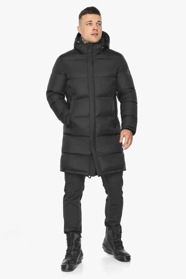 """Зимняя мужская куртка со съёмным капюшоном чёрная модель 49773 Braggart """"Dress Code"""" фото 2"""