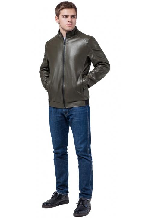 """Кожаная стильная куртка цвет хаки модель 1588 Braggart """"Youth"""" фото 1"""