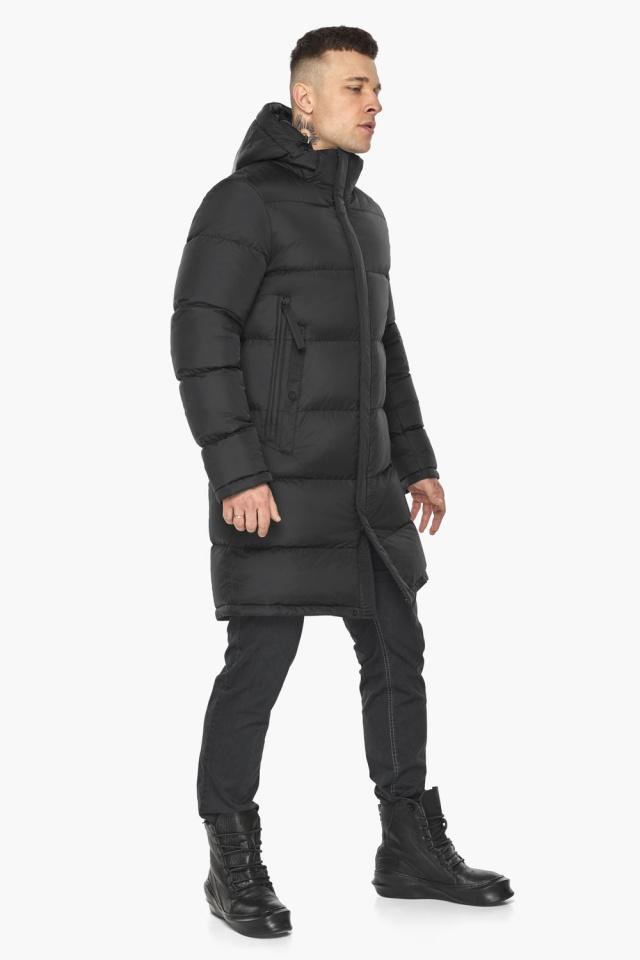 """Зимняя мужская куртка со съёмным капюшоном чёрная модель 49773 Braggart """"Dress Code"""" фото 7"""