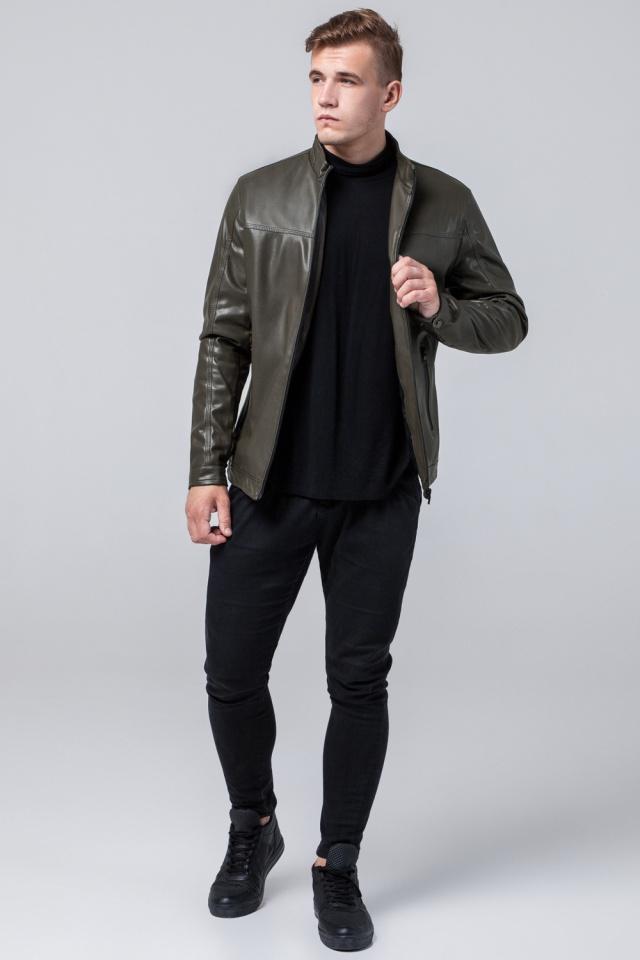 """Стильная кожаная курточка осенняя на мальчика цвет хаки модель 2825 Braggart """"Youth"""" фото 3"""