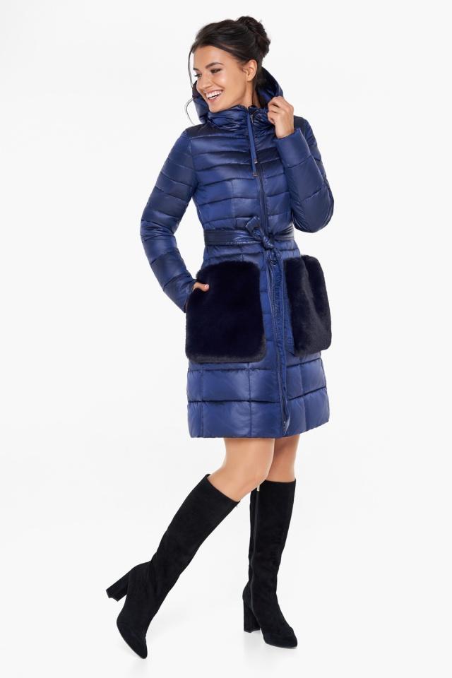 """Сапфировая куртка на змейке женская модель 31845 Braggart """"Angel's Fluff"""" фото 4"""
