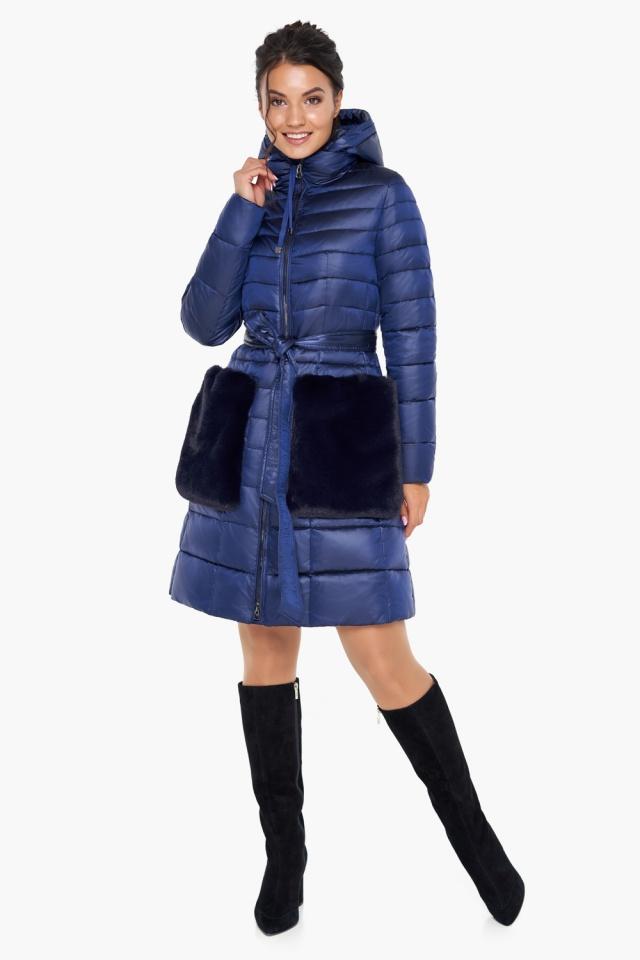 """Сапфировая куртка на змейке женская модель 31845 Braggart """"Angel's Fluff"""" фото 3"""