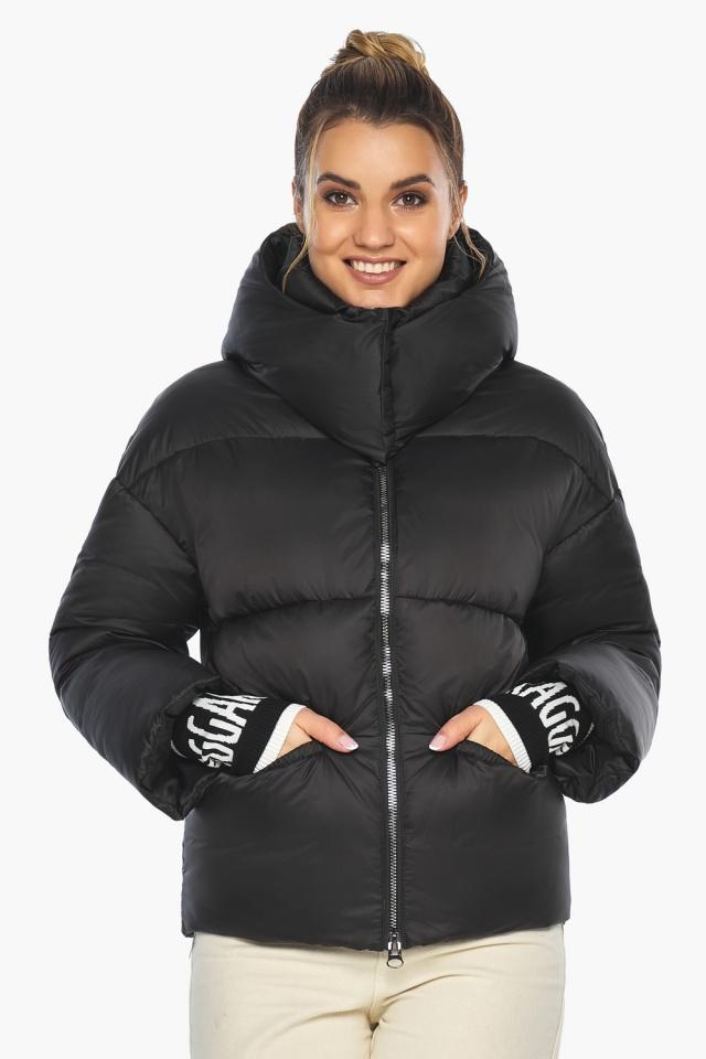 """Куртка с воротником чёрная зимняя женская модель 41975 Braggart """"Angel's Fluff"""" фото 4"""