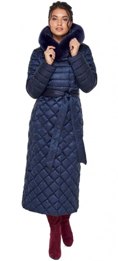 """Длинная синяя куртка женская модель 31012 Braggart """"Angel's Fluff"""" фото 1"""