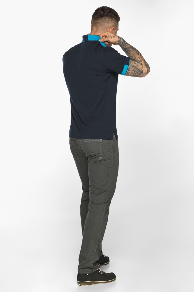 Футболка поло мужская комфортная тёмно-синяя модель 5209 Braggart фото 7