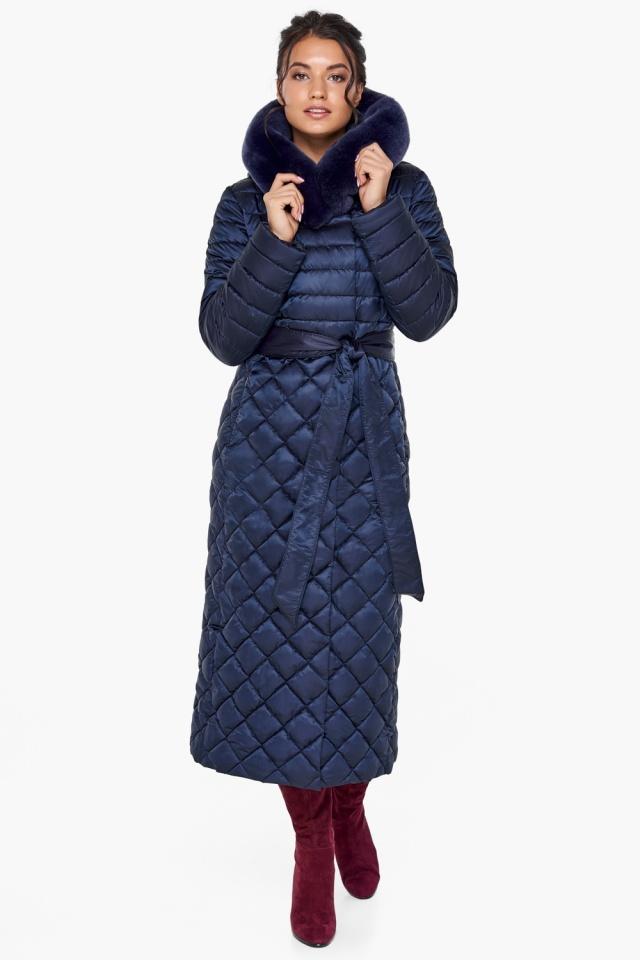 """Длинная синяя куртка женская модель 31012 Braggart """"Angel's Fluff"""" фото 2"""