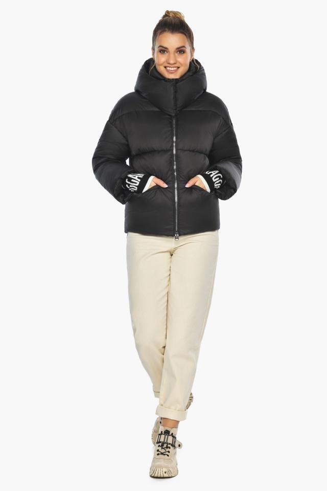 """Куртка с воротником чёрная зимняя женская модель 41975 Braggart """"Angel's Fluff"""" фото 2"""