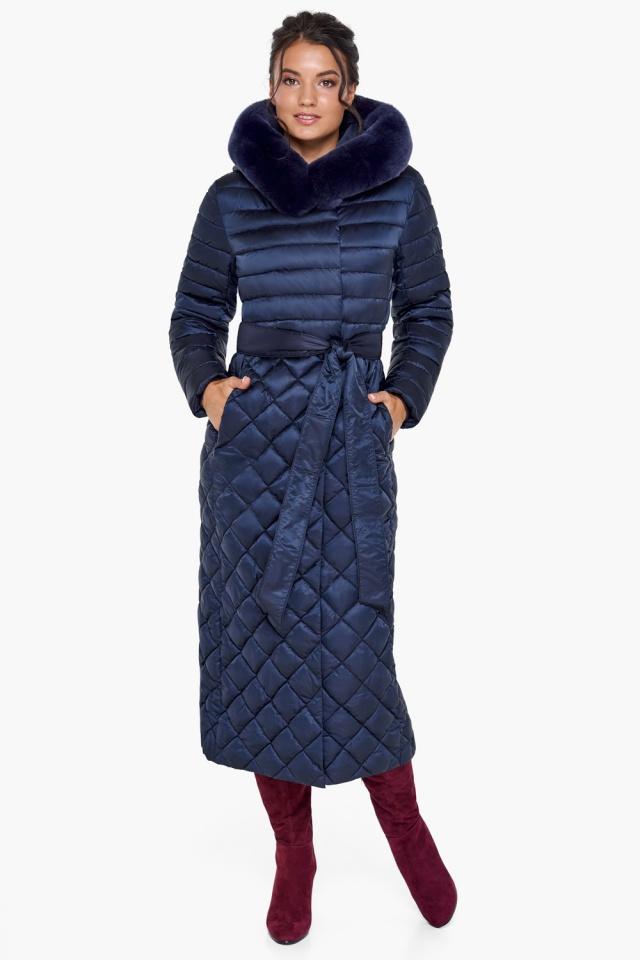 """Длинная синяя куртка женская модель 31012 Braggart """"Angel's Fluff"""" фото 4"""