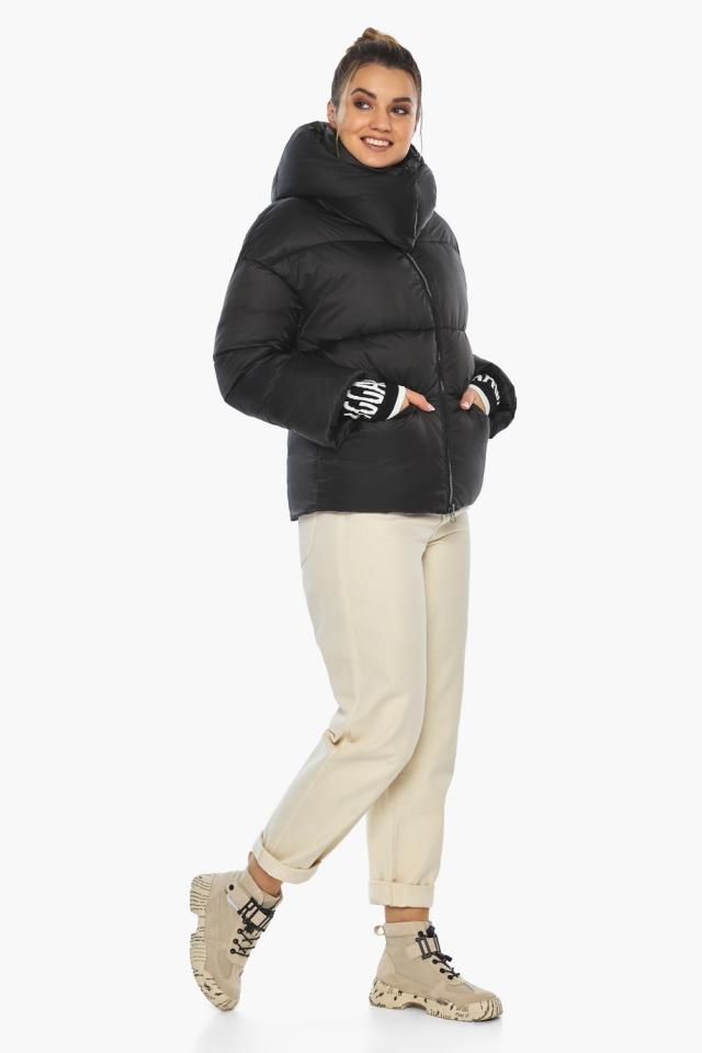 """Куртка с воротником чёрная зимняя женская модель 41975 Braggart """"Angel's Fluff"""" фото 3"""