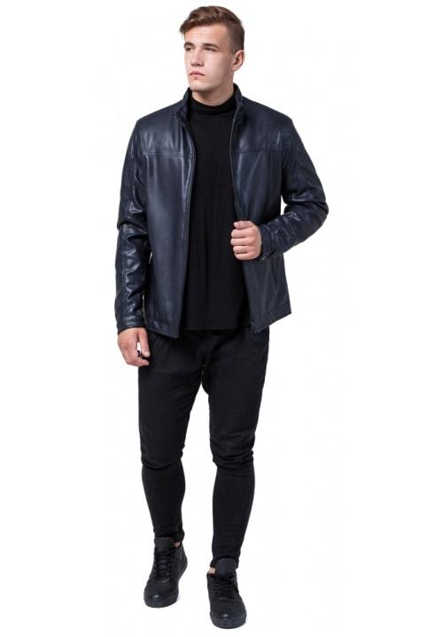 """Кожаная дизайнерская куртка на мальчиков-подростков тёмно-синяя модель 2825 Braggart """"Youth"""" фото 1"""