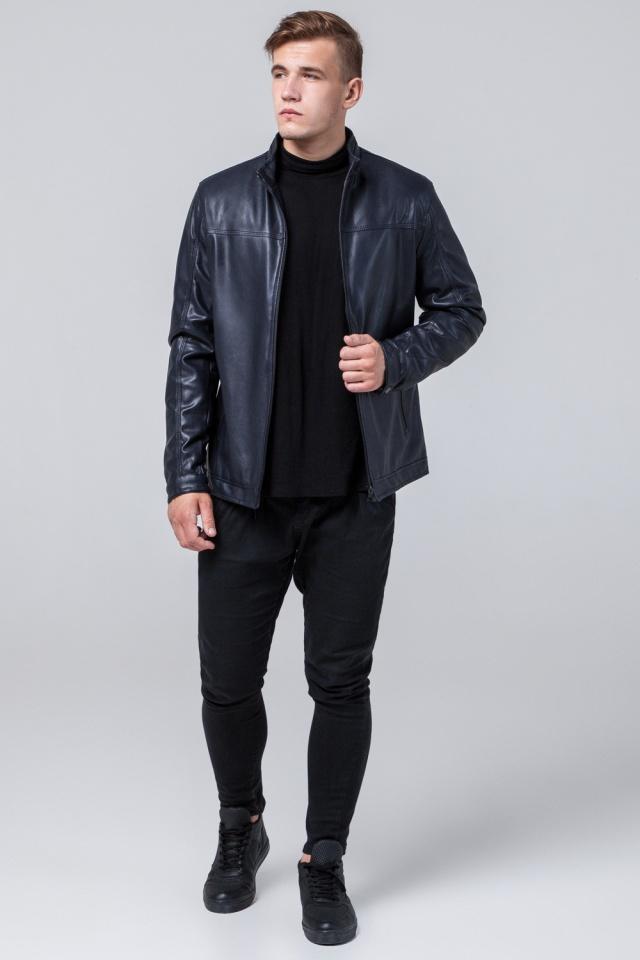 """Кожаная дизайнерская куртка на мальчиков-подростков тёмно-синяя модель 2825 Braggart """"Youth"""" фото 2"""