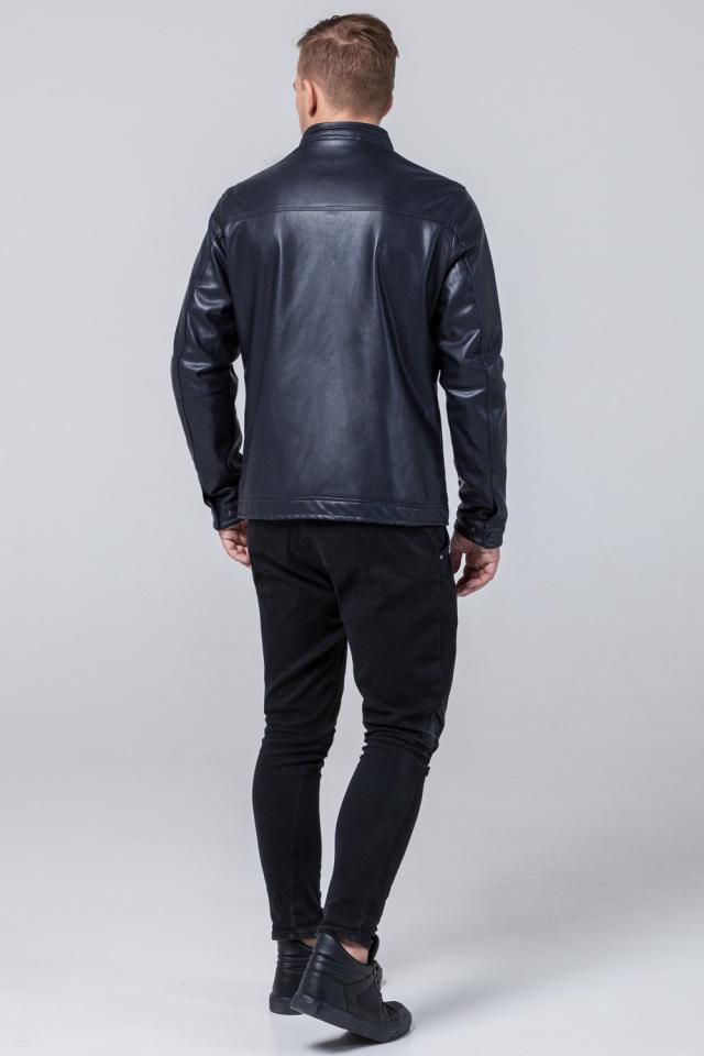 """Кожаная дизайнерская куртка на мальчиков-подростков тёмно-синяя модель 2825 Braggart """"Youth"""" фото 5"""