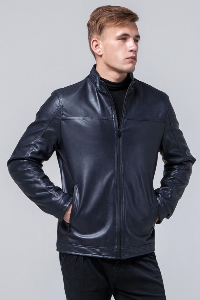 """Кожаная дизайнерская куртка на мальчиков-подростков тёмно-синяя модель 2825 Braggart """"Youth"""" фото 3"""