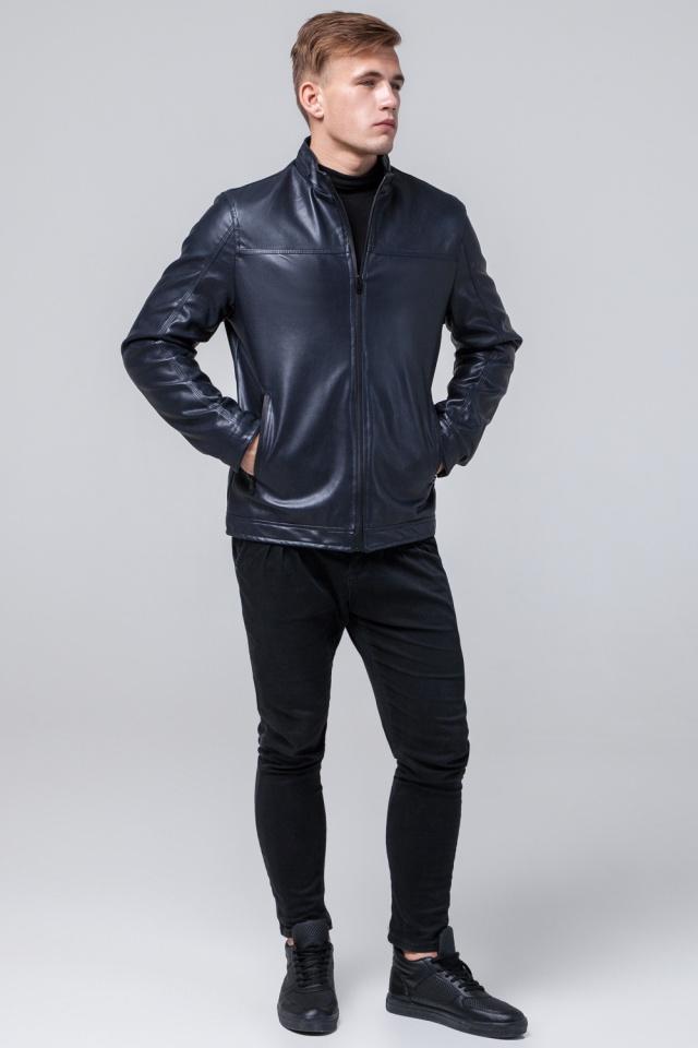 """Кожаная дизайнерская куртка на мальчиков-подростков тёмно-синяя модель 2825 Braggart """"Youth"""" фото 4"""