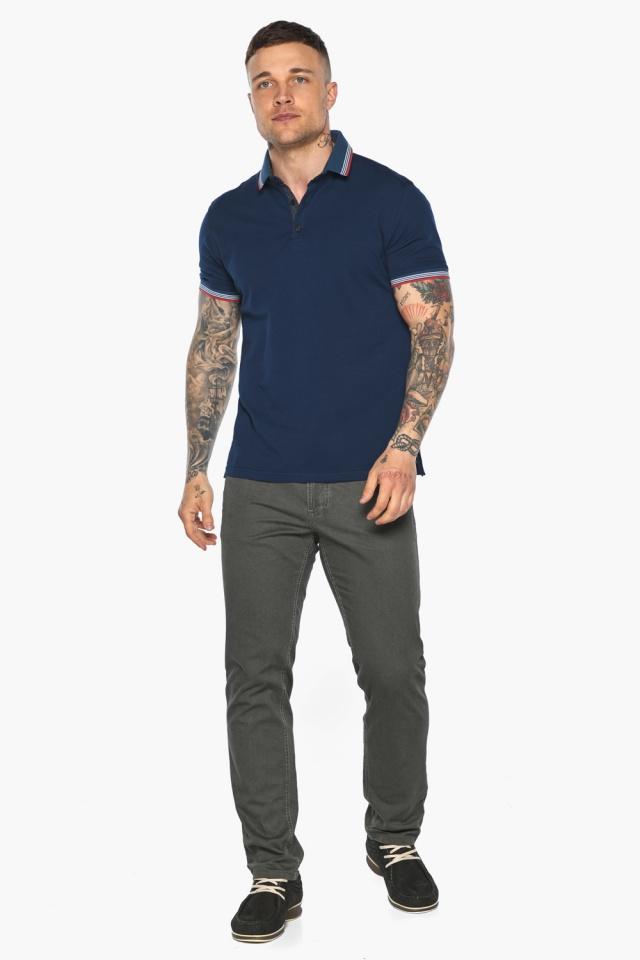 Трендовая мужская синяя футболка поло модель 5720 Braggart фото 2