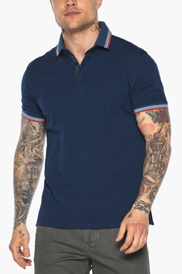 Трендовая мужская синяя футболка поло модель 5720 Braggart фото 8